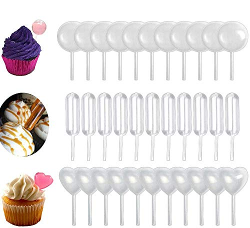 150pcs 4ml Plastic Pipettes Heart Round Rectangular Plastic Squeeze Transfer Pipettes Suitable for Chocolate, Cupcakes, Strawberries