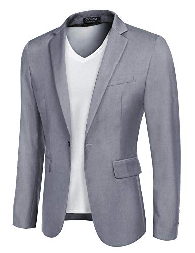 COOFANDY Mens Sports Blazer Slim Fit Casual Blazers Single Breasted Sport Coat (Grey L)