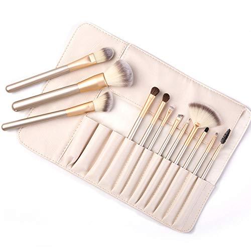 Ensemble de pinceaux de maquillage beige 12 Outils de maquillage de sac beige-12 pièces