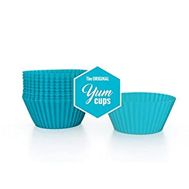 The Original YUM CUPS 12-Pack, Reusable Silicone Muffin and Cupcake Liners, SERIES 1 -- TEAL