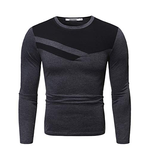 Mr.BaoLong&Miss.GO Otoño/Invierno Camiseta De Manga Larga para Hombre Suéter para Hombre Cuello Redondo para Hombre Camiseta De Manga Larga Camiseta Casual Delgada para Hombre