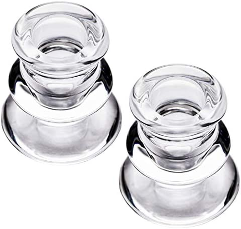 Clear Glass Candlestick Holders Set of 2 Taper Candle Holders for Wedding Decoration and Dinning product image