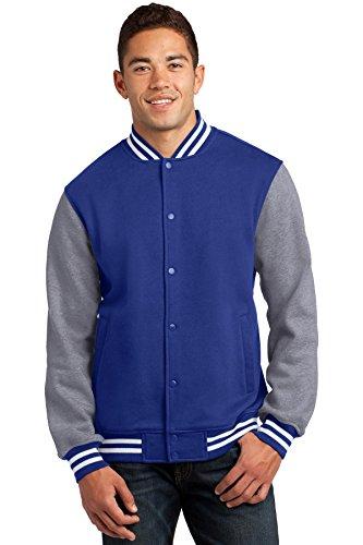 Sport Tek Men's Comfortable Fleece Letterman Jacket True Royal Blue X-Large