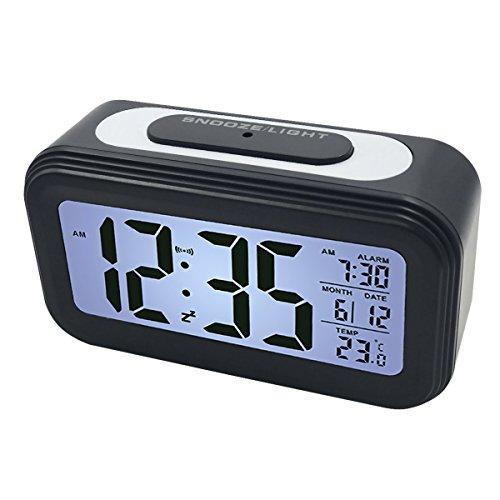 EASEHOME Digitale Wecker Reisewecker, Digitaluhr Wecker Alarm Clock Digitalwecker mit Großer LCD Display Datum und Temperatur Anzeige, Kinderwecker Snooze und Nachtlicht, Schwarz