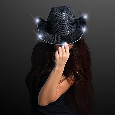 FlashingBlinkyLights Black Sequin Light Up LED Cowboy Hat