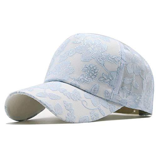 Baseball Cap Sommer Frauen Mode Casual Sonnencreme atmungsaktiv Blume Druck Spitze Baseball Cap Damen Hut Sommer Größe 54 – 60 cm blau