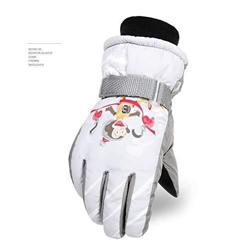 Gloves Gants de Ski d'hiver pour Enfants et Hommes et Femmes - Gants de Cyclisme - Gants de Ski imperméables - 20 °C à -4°F Blanc