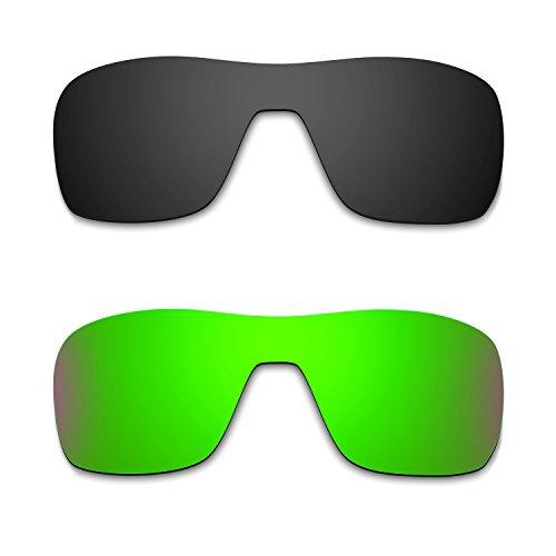 HKUCO Mens Replacement Lenses For Oakley Turbine Rotor Black/Emerald Green Sunglasses
