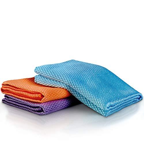 VABAX - Paños de microfibra de 60 x 40 cm, 3 paños de limpieza para cualquier superficie, extremadamente absorbentes, paños de limpieza extra grandes, paño de microfibra para coche, cocina, baño