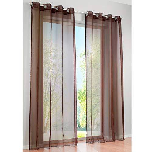 SIMPVALE 2 Paneles Cortinas con Ojales Translúcida Visillos para Dormitorios Habitación Salón Balcón,Marrón,140cm x 175cm