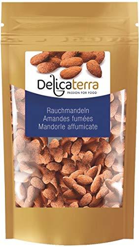 Delicaterra Rauchmandeln 1kg - salzige geröstete geräucherte Mandeln - knackiger Knabberspaß in wiederverschließbaren Standbeutel - Snack - Knabberei - Vorteilspack