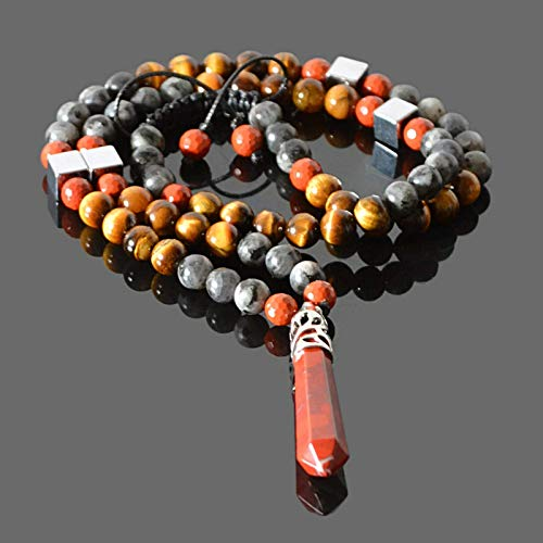 Red Agate and Labradorite Beaded Black Y Necklace