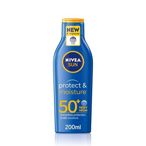 NIVEA SUN Protect and Moisture Lotion SPF50+ (200ml), Moisturising Suncream with SPF50+, Advanced Sunscreen Protection, Water-Resistant Suncream Formula, Suncream 50