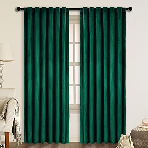 SNITIE Emerald Green Velvet Curtains with Back Tab and Rod Pocket Thermal Insualted Soft Privacy Light Filtering Velvet Drapes for Bedroom and Living Room, Set of 2 Panels, 52 x 84 Inches Long