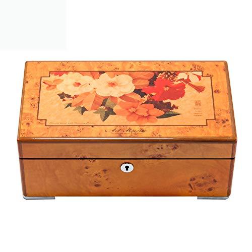 HAIHF Schmuckkästchen,Schmuckkästchen, Klavierlack Holz Schmuck Box Schmuck Ring Halskette Ohrringe Aufbewahrungsbox mit Schloss