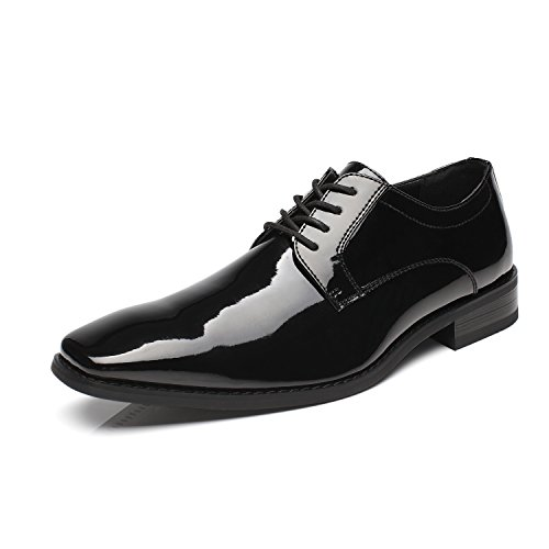 Faranzi Oxford Shoes for Men Patent Leather Plain Toe Tuxedo Oxford Mens Dress Shoes Zapatos de Hombre Lace Up Comfortable Classic Modern Formal Business Shoes