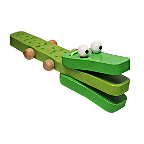 Ymxcwer85851 Castañuela de Madera de cocodrilo de Orffworld, Instrumento Musical para bebé, Juguete de sonajero de Dibujos Animados [Verde]