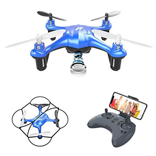 ATOYX AT-96 Drone Cámara HD, RC Mini Drone, 3D Flips, Modo sin Cabeza con App WiFi FPV 2.4Ghz, Altitud Hold, Una Tecla de Despegue y Aterrizaje de Gravedad, Mejor Regalo, Azul
