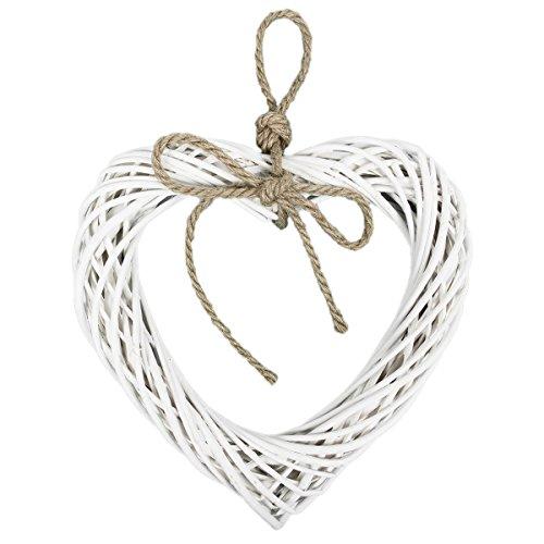 Decorazione a forma di cuore in vimini di colore bianco con cordoncino naturale, ideale da apprendere a porte e finestre