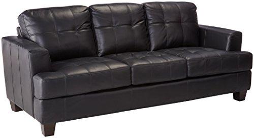 Coaster Samuel Transitional Leather Sofa, Black