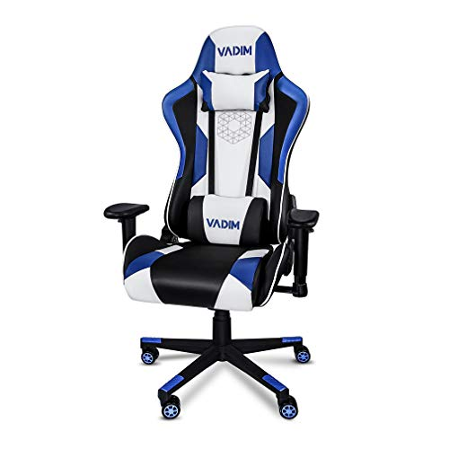 VADIM Sillas Gaming Ergonómica Azul, Racing Silla de Escritorio de Oficina Gamer Regulable, Silla Giratoria de Oficina con Reposacabeza Apoyo y Cojín Lumbar