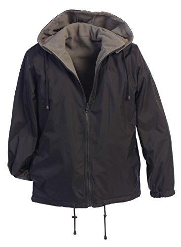 Gioberti Men's Reversible Rain Jacket with Polar Fleece Lining, Charcoal/Gray, XL