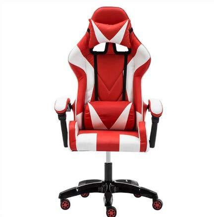 LWZ Sillas de Juego, sillas de Oficina, sillas giratorias robustas y ergonómicas, sillas con Cojines y respaldos Ajustables, sillas con reposapiés retráctiles (Negro y Rojo),White Red