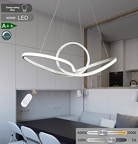 LED Hanglamp Dimbaar met Afstandsbediening Modern Acryl Geometrisch Ontwerp Hanglamp Eettafel Hanglamp 41W Verstelbare Witte Hanglamp voor Office Keuken Island Eetkamer D60CM