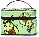 Happy Aguacate Green Fruit Smile (1) Diseño grande bolsa de maquillaje para mujer, estuche cosmético, organizador de viaje con cremallera de malla cepillo de bolsillo con asa chica