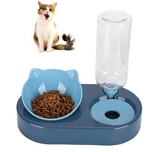 Comedero Automático Y Bebedero, Tazones para Gatos con Soporte, Durable Alta Capacidad 2 en 1 Plastico Cuenco Gato Elevado con Cuenco de Comida para Perros Pequeños o Medianos Gatos (Azul)