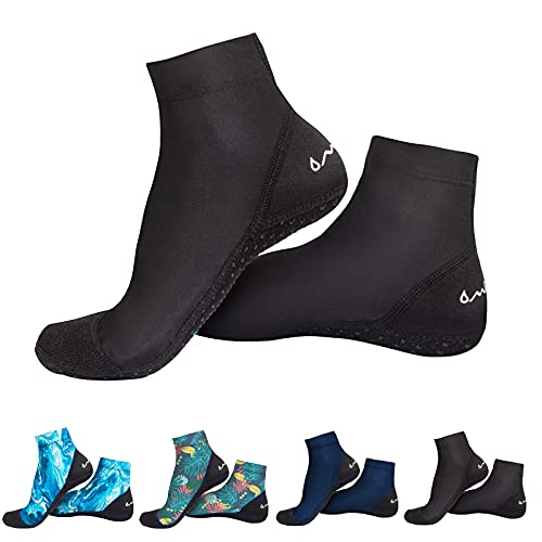 OMGear Water Socks Beach Sand Volleyball Socks Wetsuit Fins Booties Aqua Shoes Anti-Slip Dive Socks Ultra Stretch for Snorkeling Swimming Surfing Scuba Diving Spearfishing Kayaking (Black, XXL)