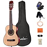 ADM Beginner Acoustic Classical Guitar 30 Inch Nylon Strings Wooden Guitar Bundle Kit for Kids Students with Carrying Bag & Accessories, Nature