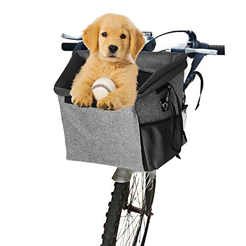 Arkmiido Fahrradkorb für Hunde, Hundekorb Fahrrad Vorne Faltbar und Abnehmbar, für kleine Haustiere, Maximale Belastung für 5 KG (Grau)