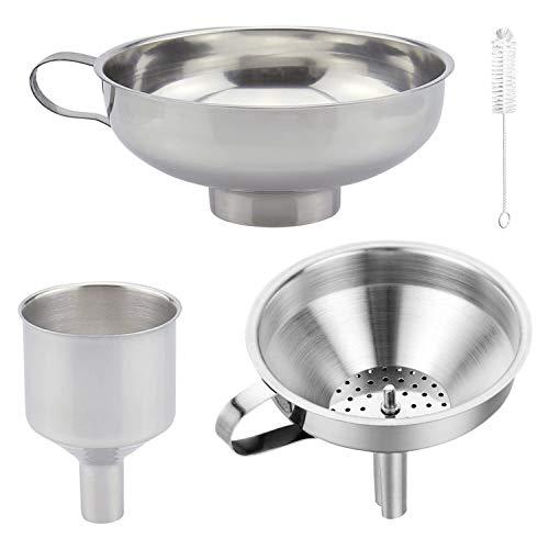 Embudo de cocina para conservas, embudo de acero inoxidable de 3 piezas con colador extraíble, filtro y cepillo de limpieza para cocina, transferencia de especias líquidas en polvo, frijoles y tarros