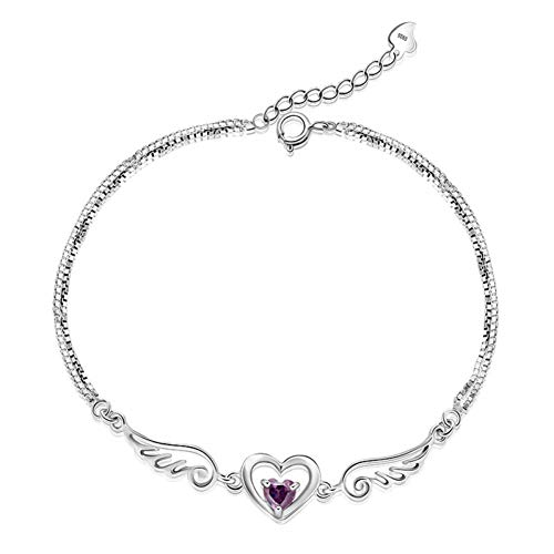 HMKLN Sterling Silver Fashion Angel Wings Brillant Cristal Ladies`Bracelet Bijoux Pas Fade Femmes Charme Bracelets