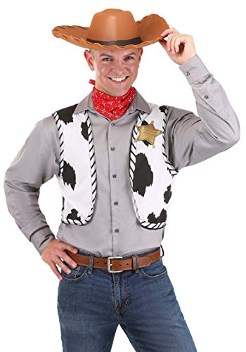 Disguise Mens Disney Pixar Toy Story and Beyond Woody Adult Costume Kit, Yellow/Black/White/Brown, One Size