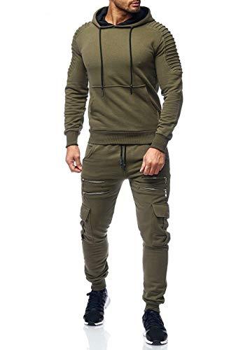 Code47 Herren Jogginganzug Camouflage Sportanzug Jogging Army Grün XXL