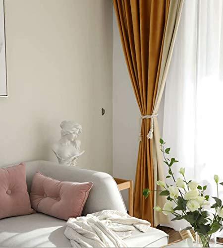 LJHLZF Hochwertige holländische Samtvorhänge Blackout Vorhänge Schlafzimmer Arbeitszimmer Vorhang 168cmx229cm(B x H) 2 Paneele gelb beige