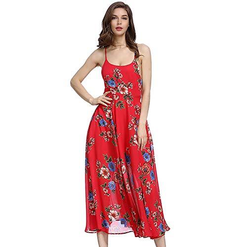 QUNLIANYI Abendkleid Abiballkleid Red Floral Dress Backless Cross Lace Up Chiffon Sleeveless Dresses...