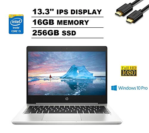 HP ProBook 430 G6 13.3' FHD Full HD 1080p IPS Business Laptop (Intel Quad-Core i5-8265U, 16GB DDR4 RAM, 256GB PCIe M.2 SSD) Backlit, Type-C, RJ-45, Windows 10 Pro + IST Computers HDMI Cable