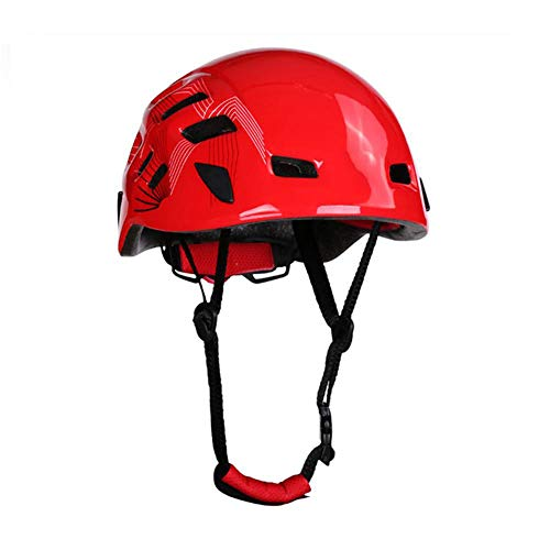 XZHU Fahrradhelm, Kletterhelm, Rettung von Höhlen im Freien, treibender Bergsteiger-Reithelm, Helm, Outdoor-Sportausrüstung,Rot