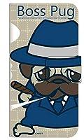 [AQUOS sense5G SHG03] スマホケース 手帳型 ケース デザイン手帳 アクオス センスファイブジー エスエイチジーゼロサン 8319-A. BossPug01ベージュ かわいい 可愛い 人気 柄 ケータイケース ヌヌコ 谷口亮