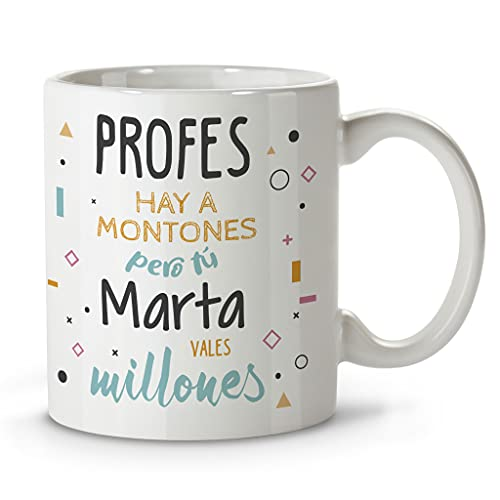 LolaPix Taza Profesora. Regalos Personalizados con Nombre y Texto. Tazas con Frases Originales. Millones Negro