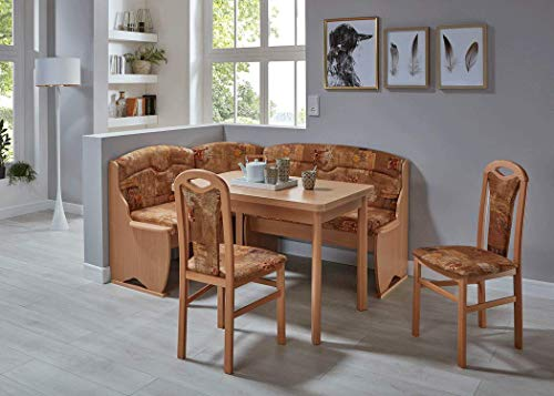 expendio Eckbankgruppe Thalwil Buche braun Eckank 2X Stuhl Tisch Essgruppe Bank Ausziehtisch Truheneckbank Esszimmer