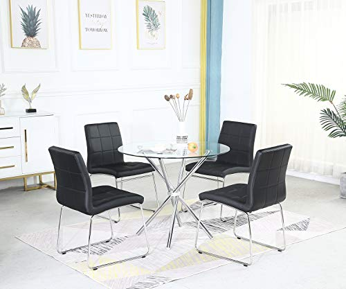 SICOTAS Round Dining Table Set,Modern Kitchen Table and White Chairs,Dining Room Table Set with Clear Tempered Glass Top, Dining Set for Dining Room Kitchen Furniture (4 Leg Table +4 Black Chairs)
