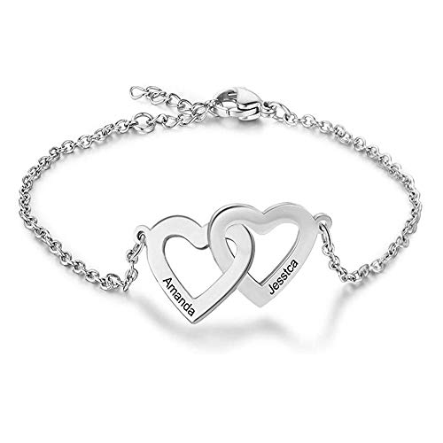 Personalised Silver Charm Bracelet for Women Girls Love Infinity Bracelets Cubic Crystal Adjustable Chain Customised Gifts Simulated Birthstone and Engraved Name Bracelets (2 Name Bouble Love Silver)