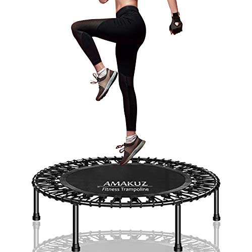 AMAKUZ Mini Trampoline for Adult, Indoor Small Rebounder Trampoline for Exercise Fitness Workout, 400lbs Maximum Load Bungee Trampoline with Heavy Duty Legs and Frame