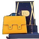 HGFHG Set De Pintalabios Mate De 6 Colores con Bolso Amarillo Exquisito Kit De Lápiz Labial Hidratante De Larga Duración Que No Deja Marcas para Mujeres Niñas Regalo