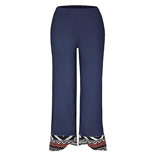 Nobrand Damen Freizeithose bedruckte Baumwolle und Hanfhose Gr. S, marineblau