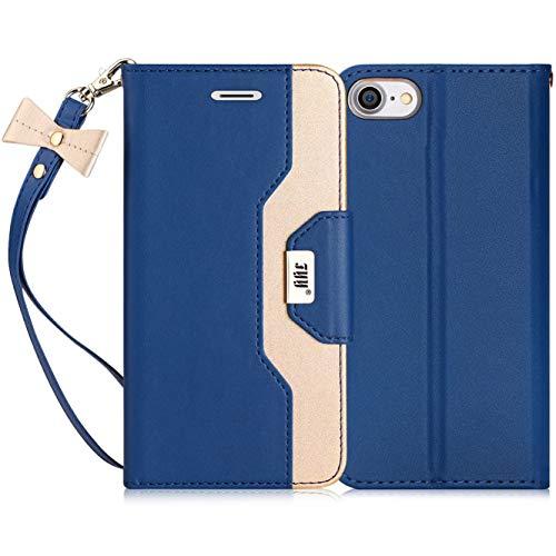 FYY Cover iPhone 8, Custodia iPhone 7,Cover iPhone 7,Cover iPhone SE 2020 4.7,Flip Custodia [Funzione Staffa]in Pelle PU Premium con Specchio per Il Trucco e Slot per Schede per iPhone 7 8 SE 2020-Blu